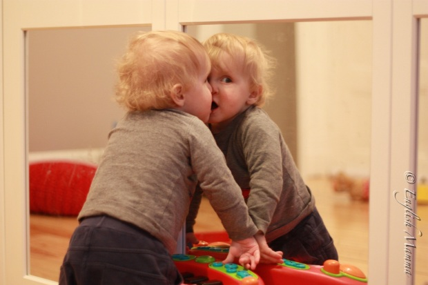 An English Mamma in Stockholm: baby kissing self in mirror