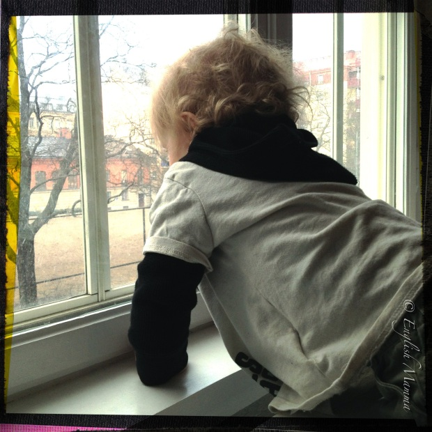 An English Mamma in Stockholm: baby watching snow at window